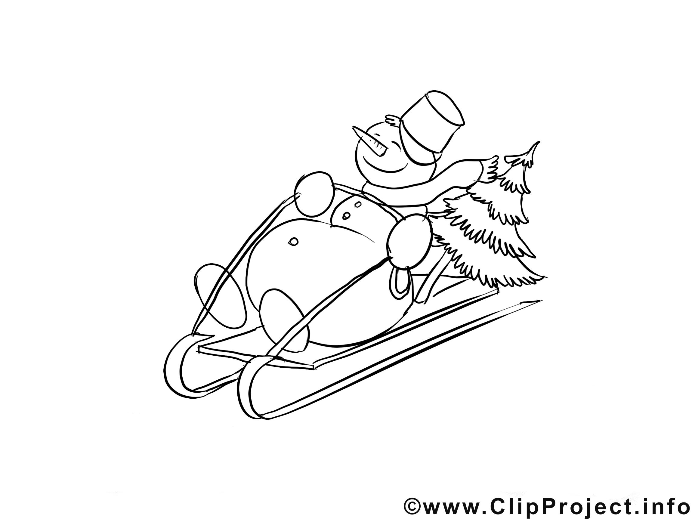 Bonhomme de neige illustration – Hiver à colorier