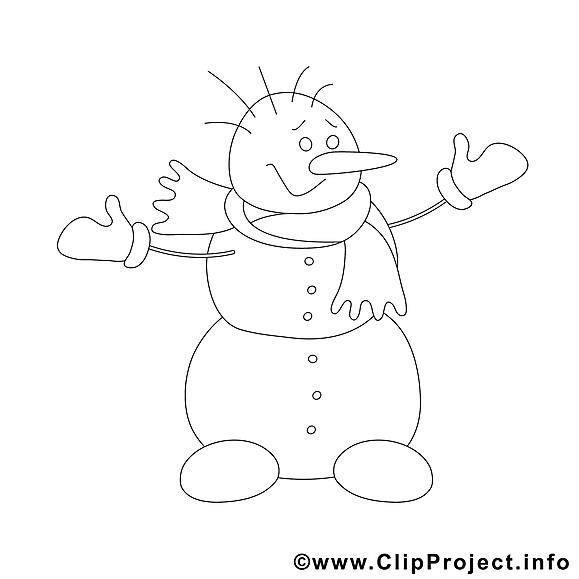 Bonhomme de neige image à télécharger – Hiver à colorier