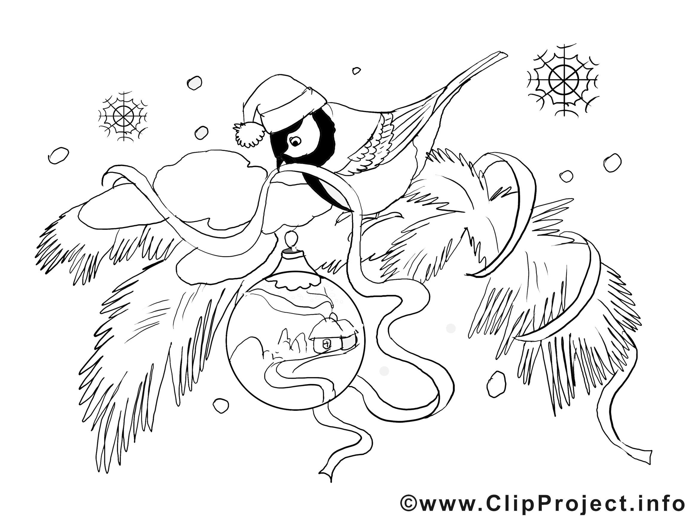 Bouvreuil illustration – Hiver à imprimer