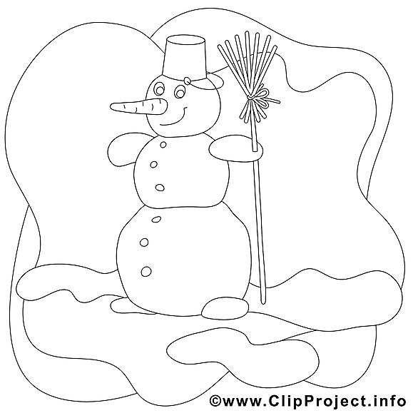 Coloriage bonhomme de neige illustration à télécharger