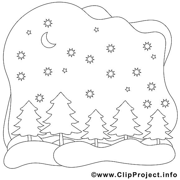 Forêt dessin – Coloriage hiver à télécharger