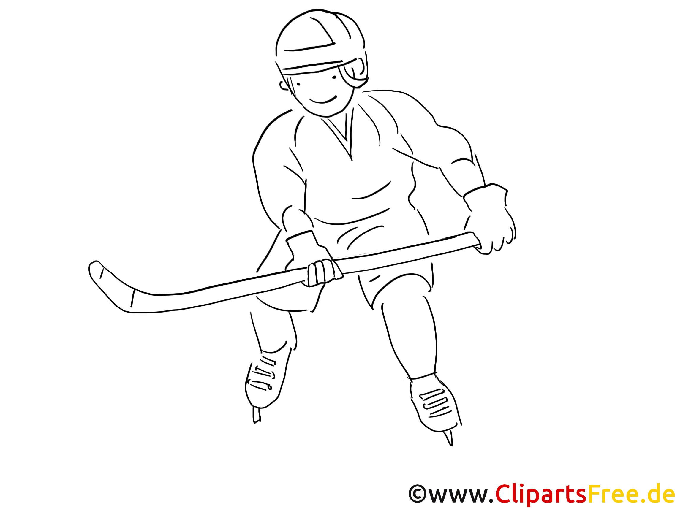 Élégant Image De Hockey Sur Glace A Colorier