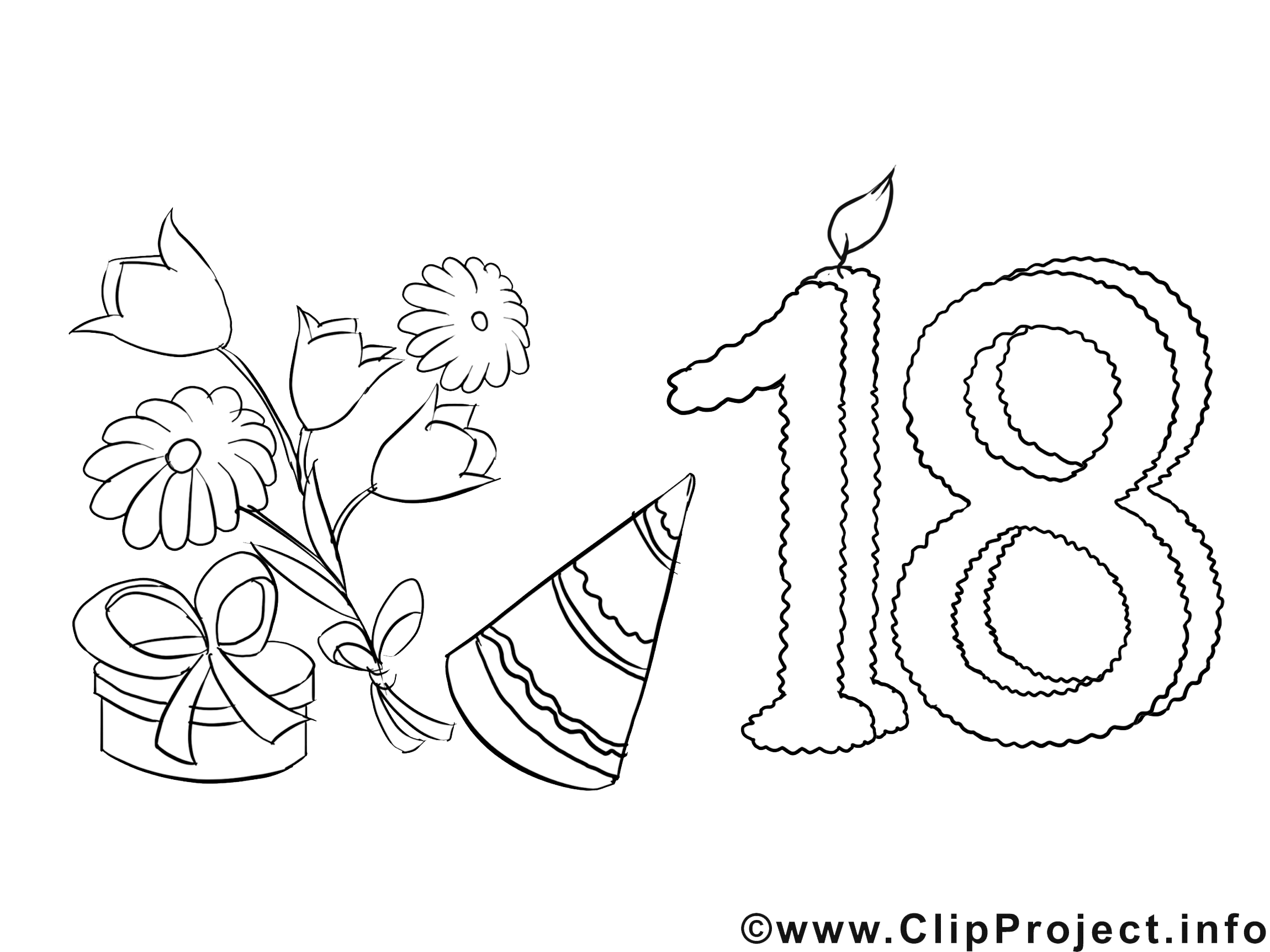 18 ans image – Coloriage invitations illustration