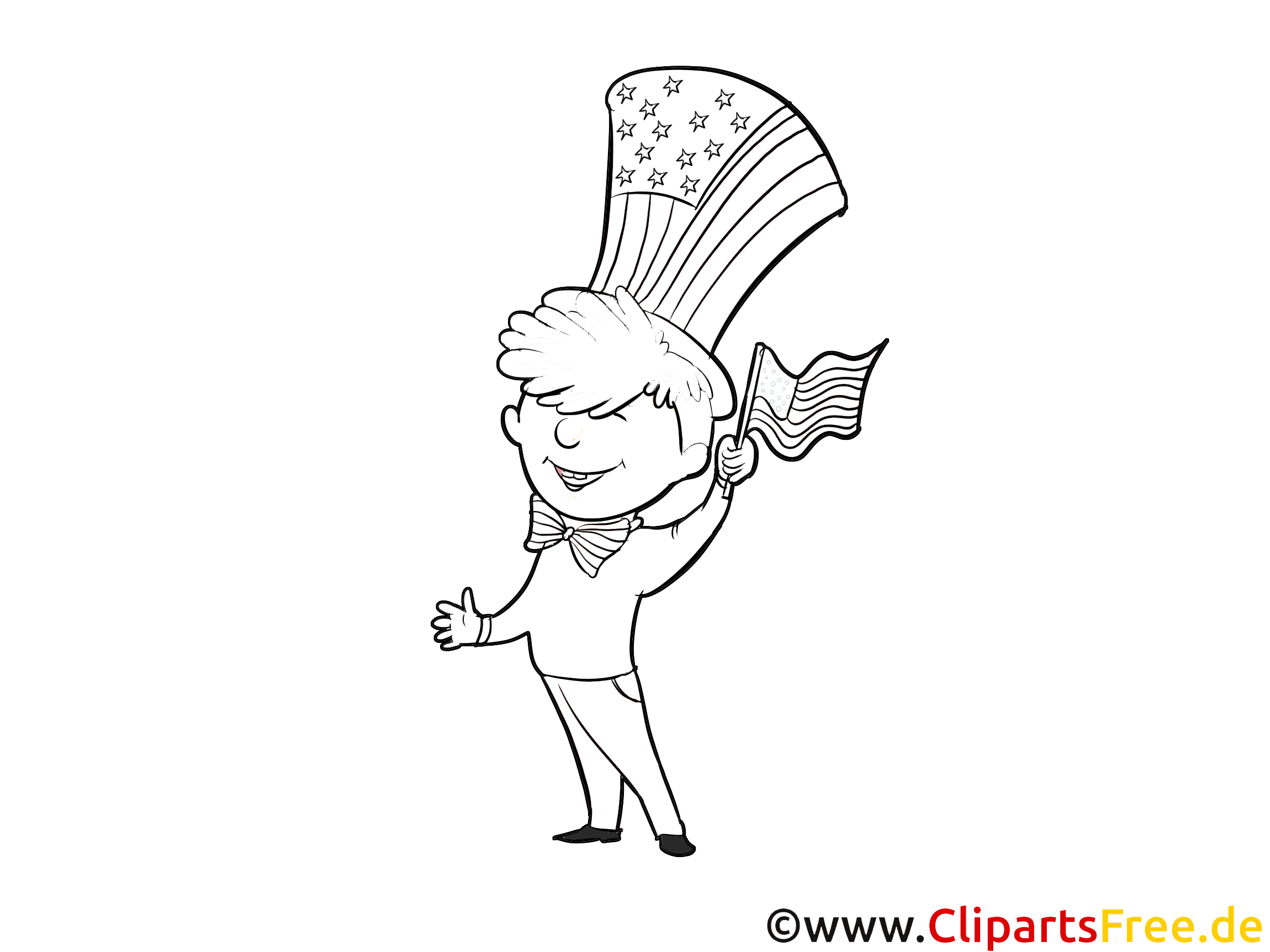 Clip art jour de l'Indépendance à colorier