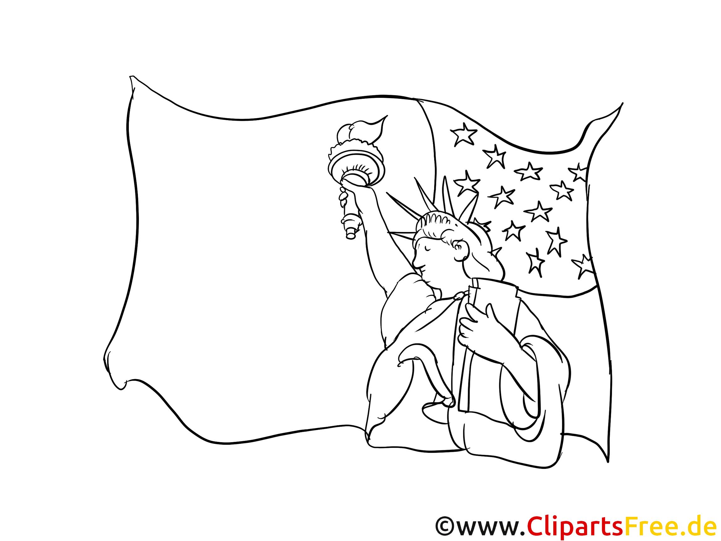 Coloriage jour de l'Indépendance illustration à télécharger