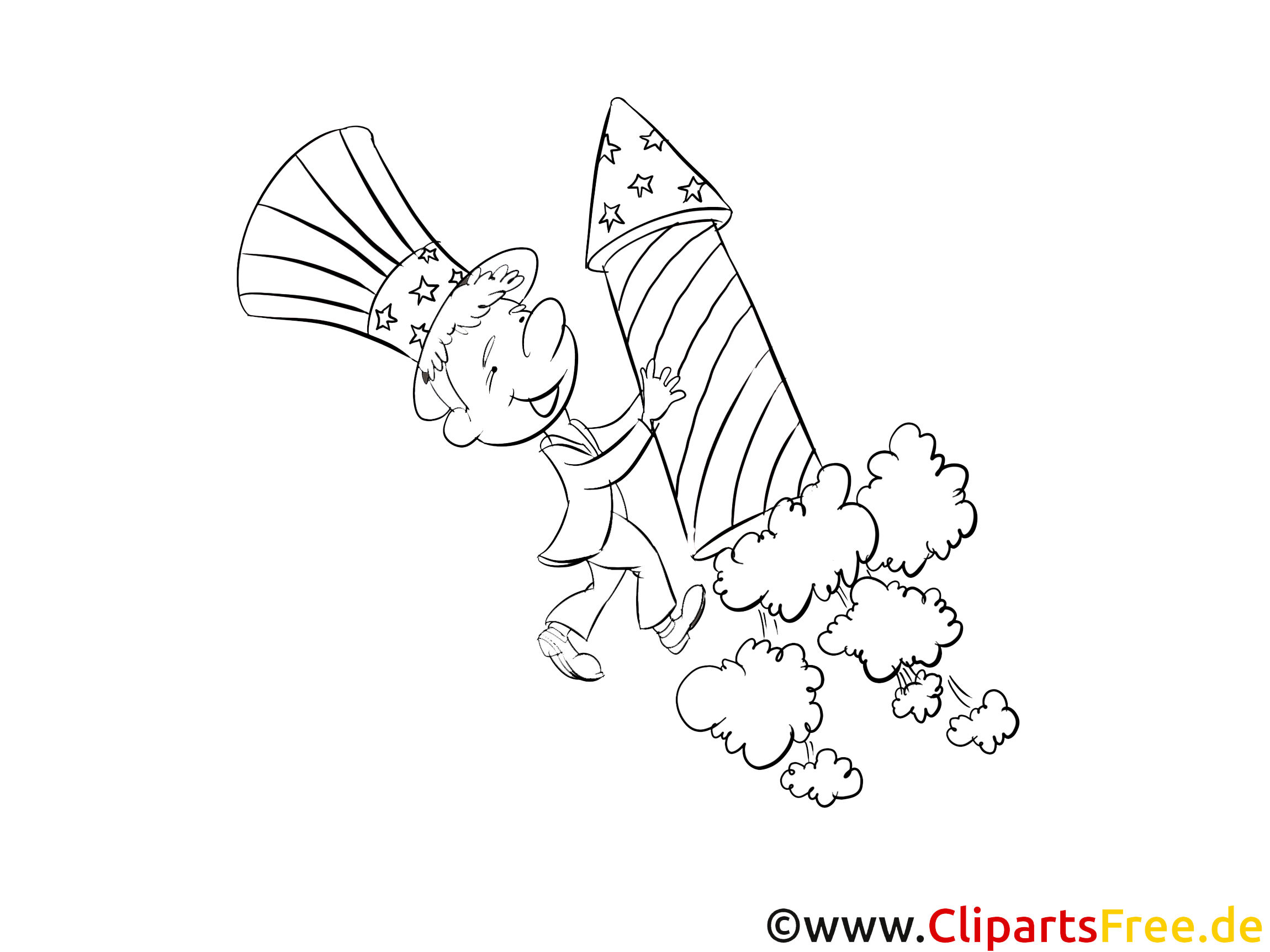 Fusée dessins – Jour de l'Indépendance à colorier