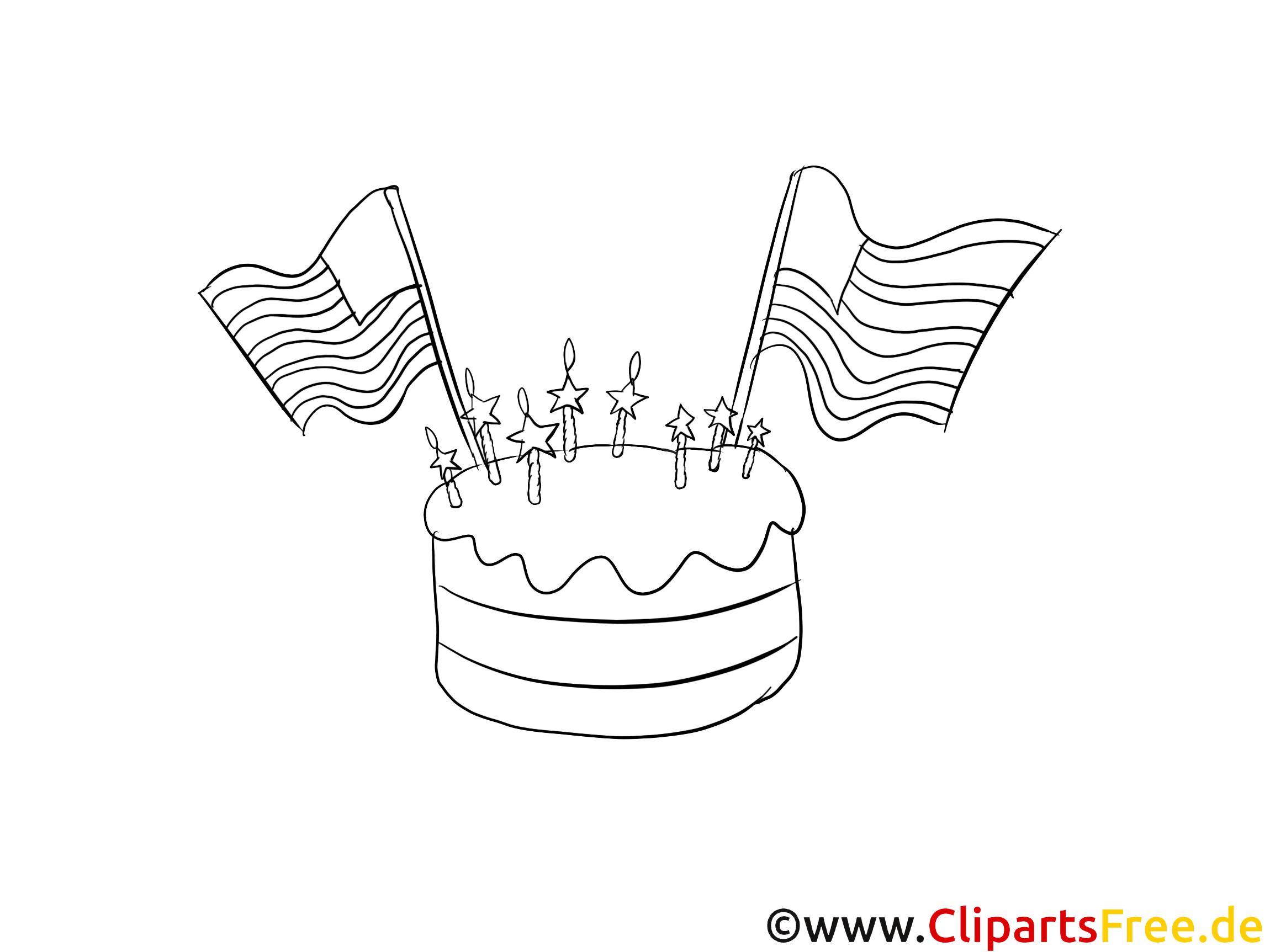 Gâteau illustration – Coloriage jour de l'Indépendance cliparts
