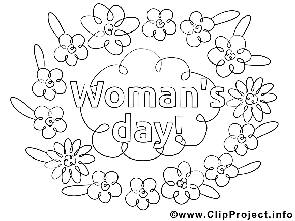 Fleurs clipart – Journée des femmes dessins à colorier