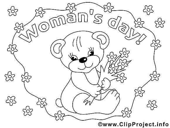 Ours dessin – Coloriage journée des femmes à télécharger