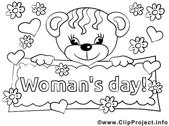 Ours image gratuite – Journée des femmes à colorier
