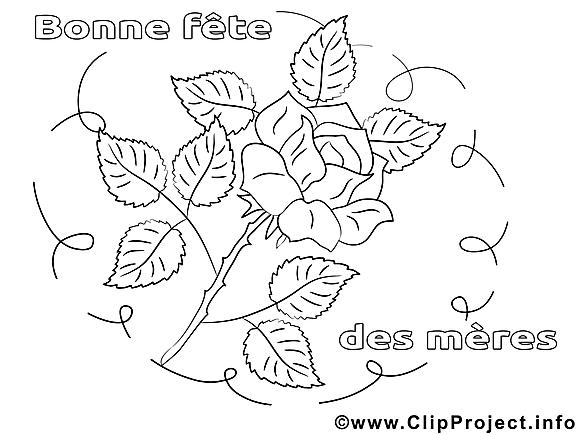 Rose illustration – Journée des femmes à colorier