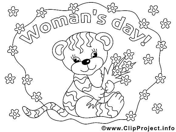 Tigre illustration – Coloriage journée des femmes cliparts