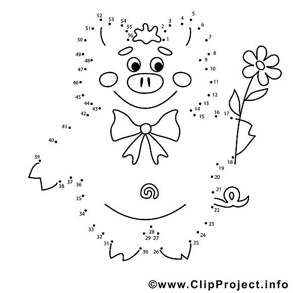 Cochon clip art gratuit – Peinture à numéros à colorier