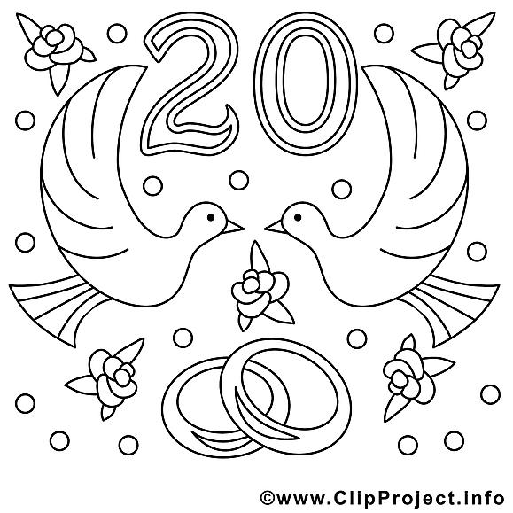 20 ans illustration mariage colorier mariage - Dessin anniversaire 20 ans ...