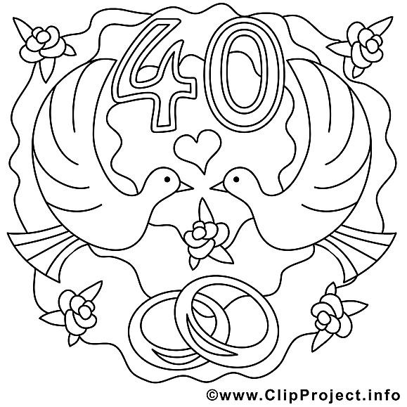 40 ans image coloriage mariage illustration mariage coloriages dessin picture image - Dessin anniversaire de mariage ...