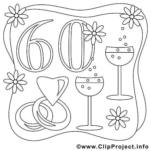 60 ans image gratuite mariage colorier mariage - Dessin 60 ans anniversaire ...