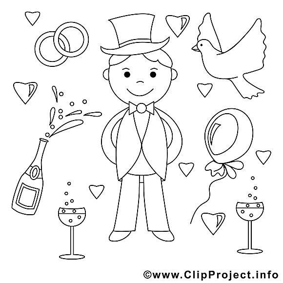 fiancé dessin  mariage gratuits à imprimer  mariage