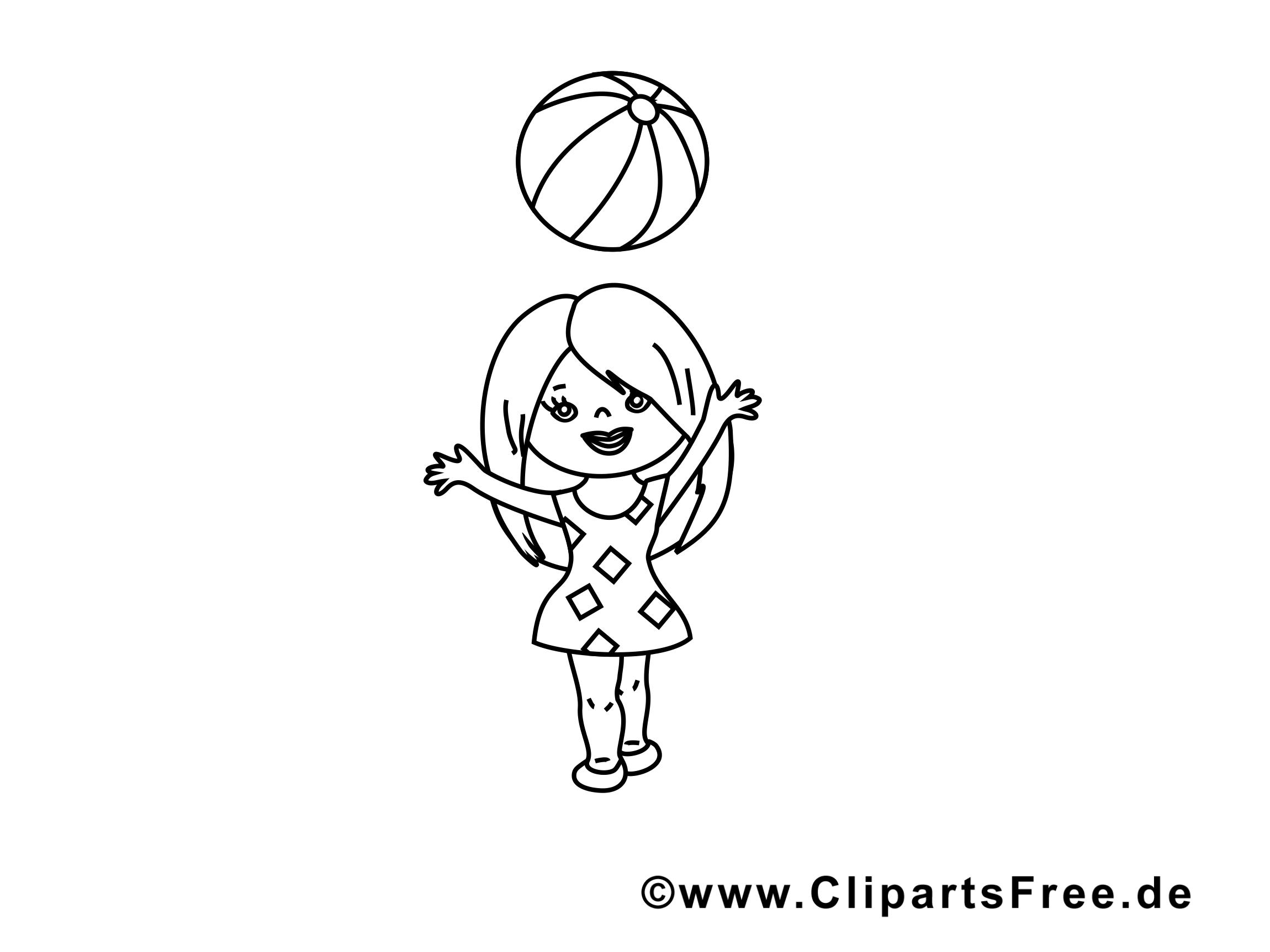 Balle fille image – Maternelle images à colorier