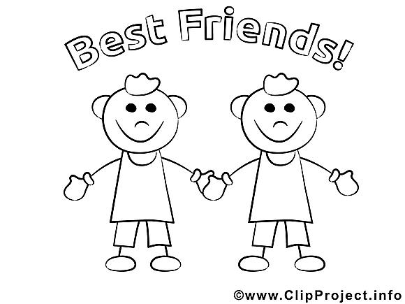 Coloriage amis maternelle illustration à télécharger