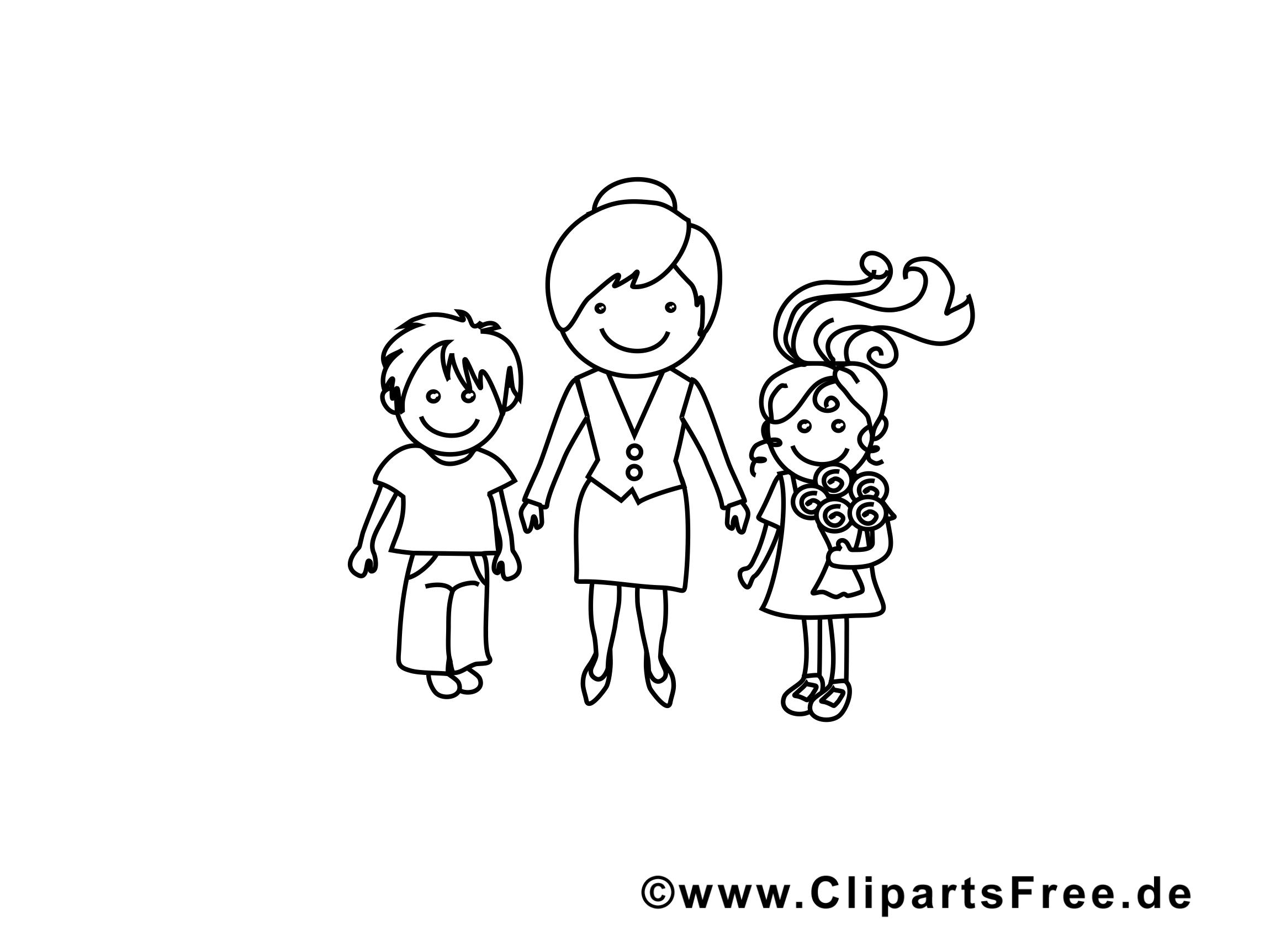 Enseignante dessin – Coloriage maternelle à télécharger