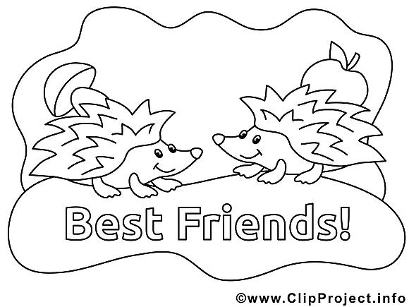 Meilleurs amis clip art gratuit – Maternelle à colorier