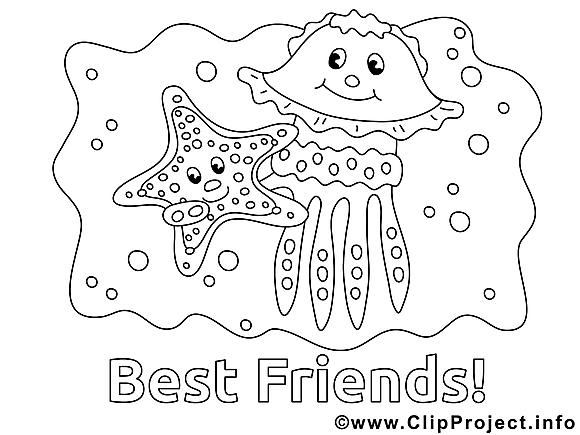 Meilleurs amis image – Maternelle images à colorier