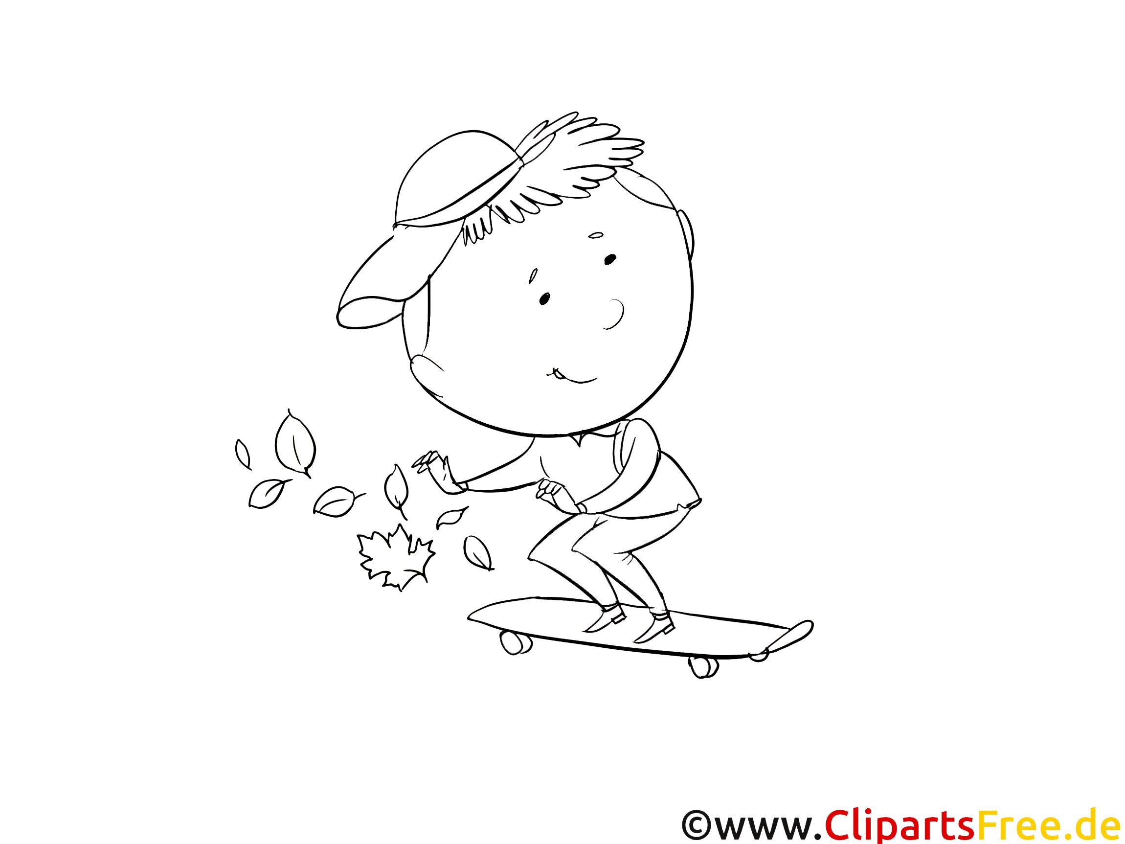 Planche à roulettes clipart – Maternelle dessins à colorier