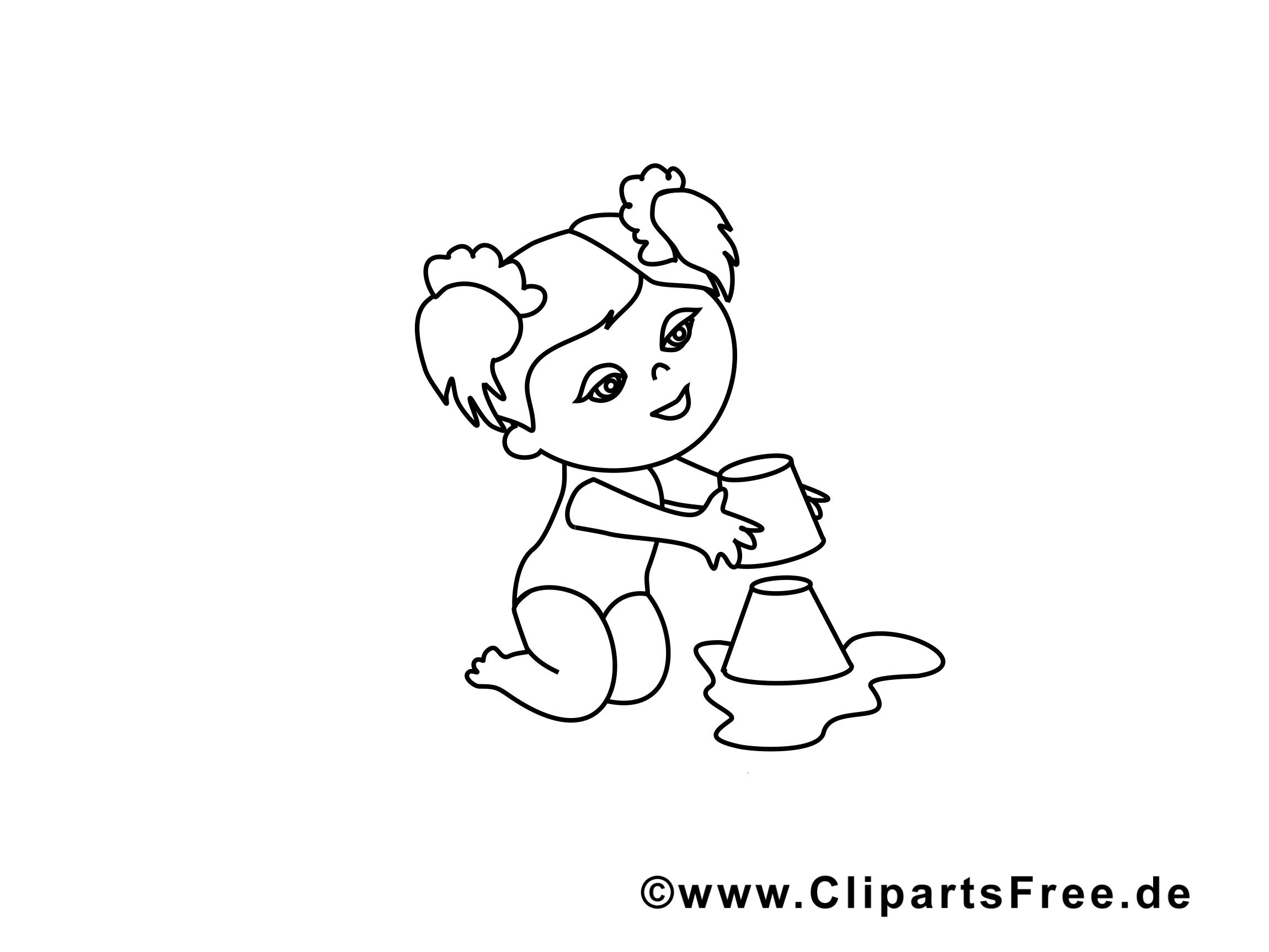 Sable clip art gratuit – Maternelle à colorier