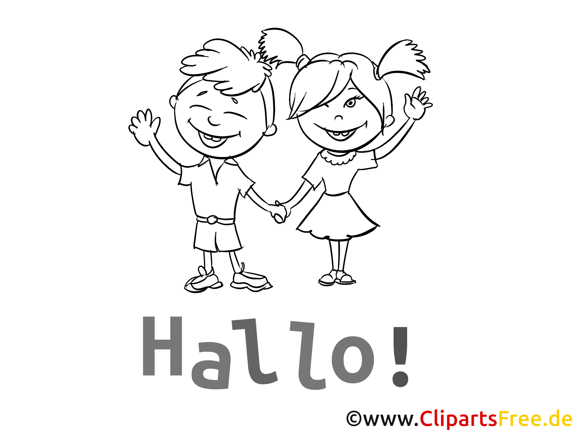 Salut clip art – Maternelle image à colorier