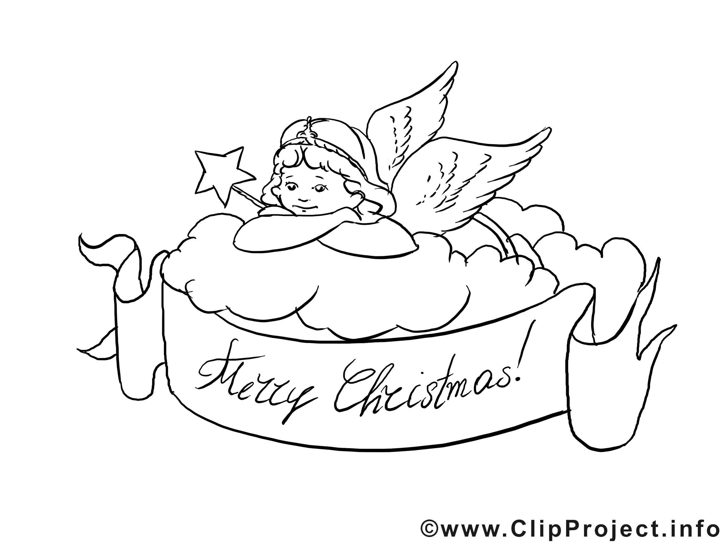 Ange dessin gratuit – Noël à colorier