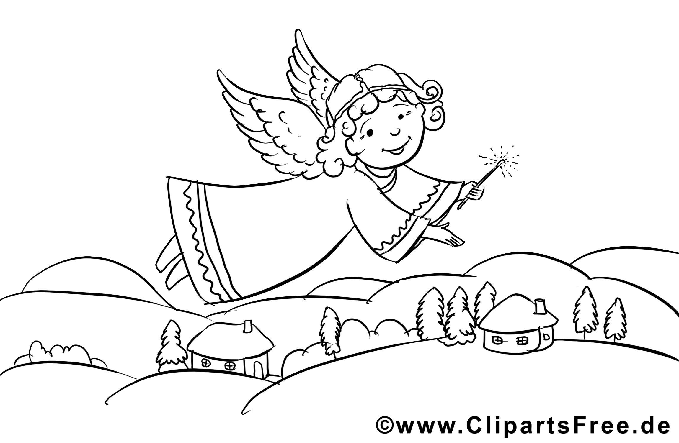 Ange image – Coloriage Noël illustration