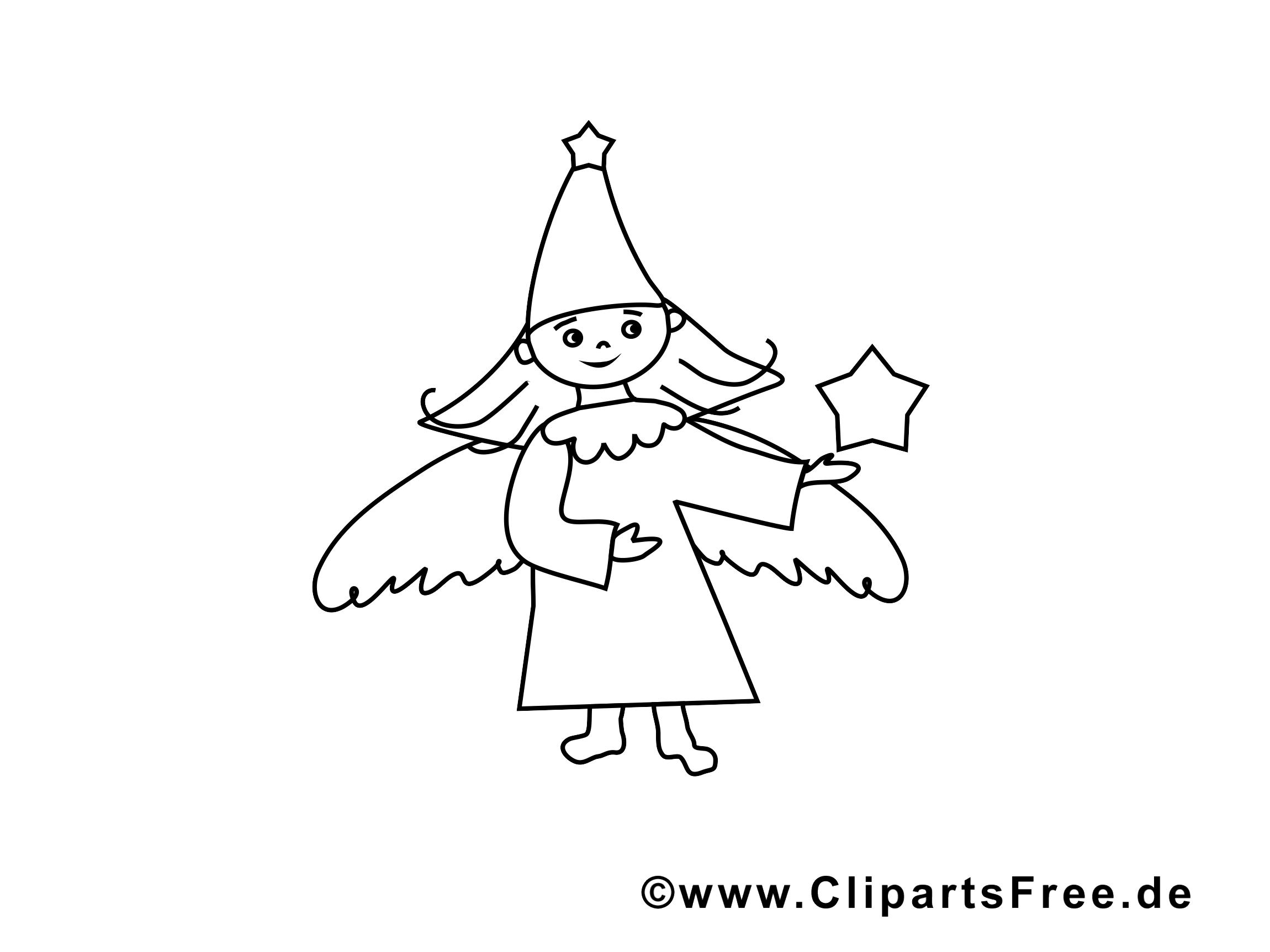 Ange images gratuites – Noël à colorier