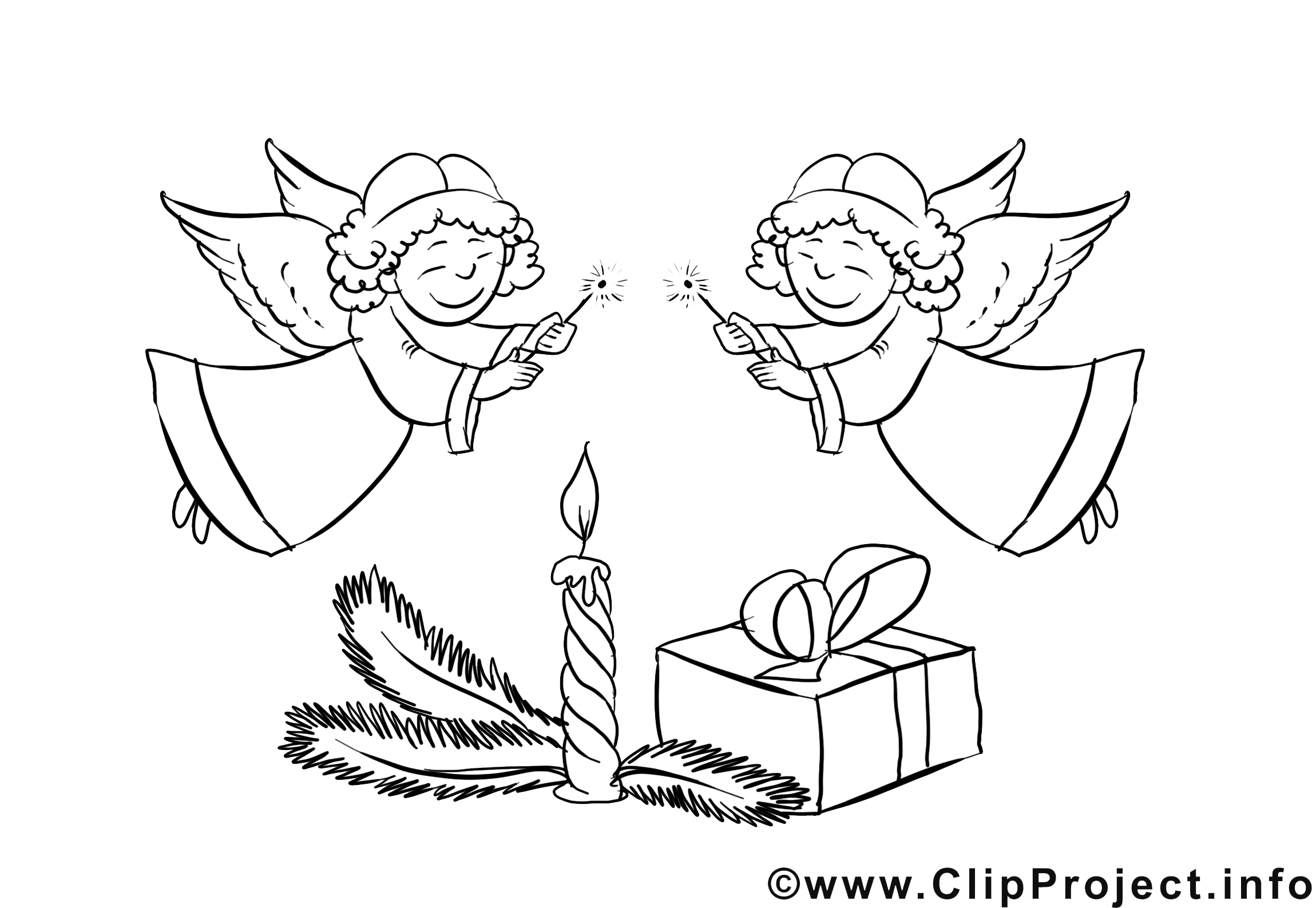 Anges dessin à télécharger – Noël à colorier