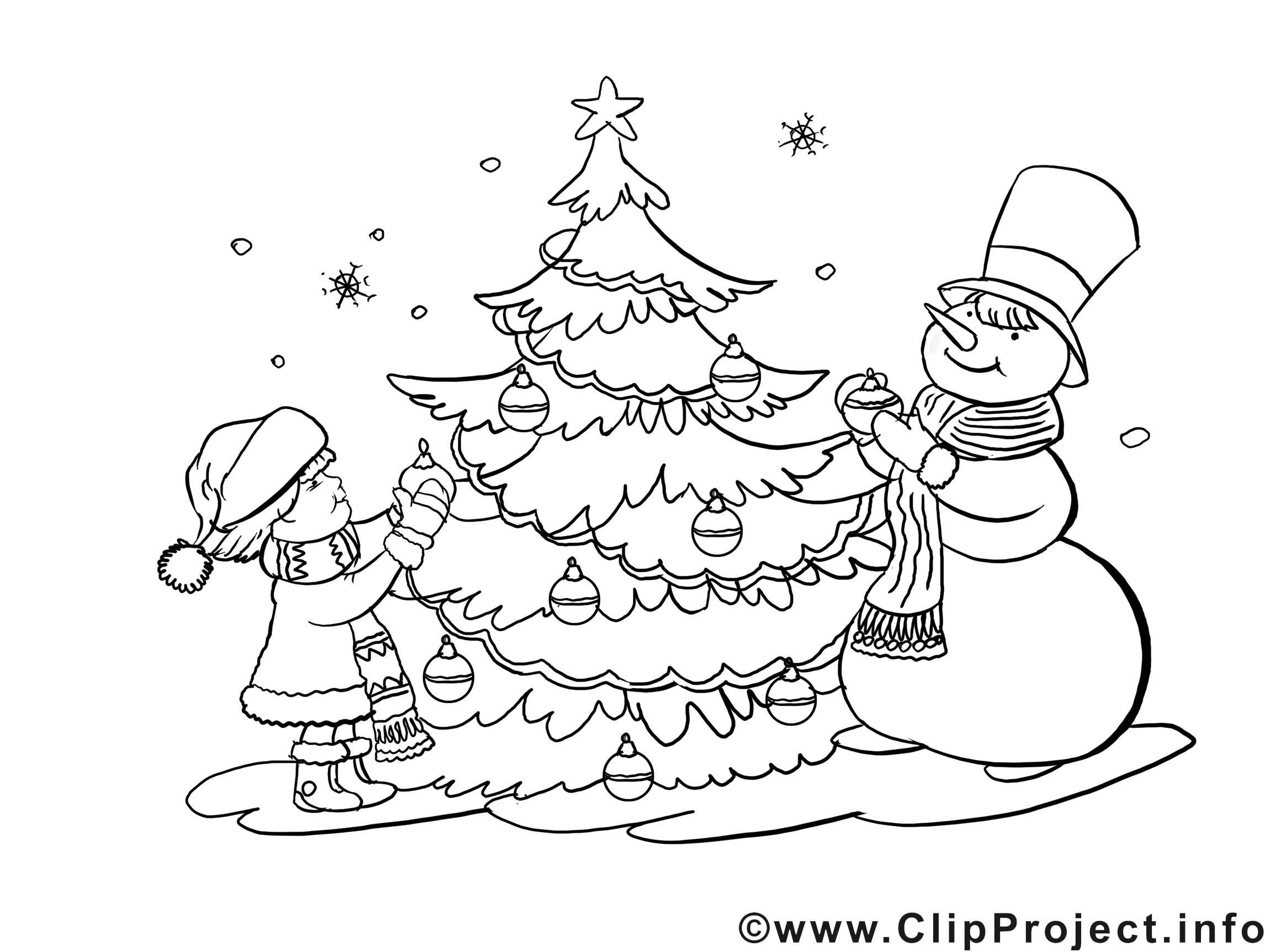 Bonhomme de neige clipart gratuit – Noël à colorier