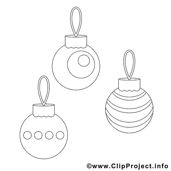 Boules clip art gratuit – Noël à colorier