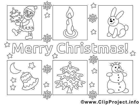 Carte clip art – Noël image à colorier