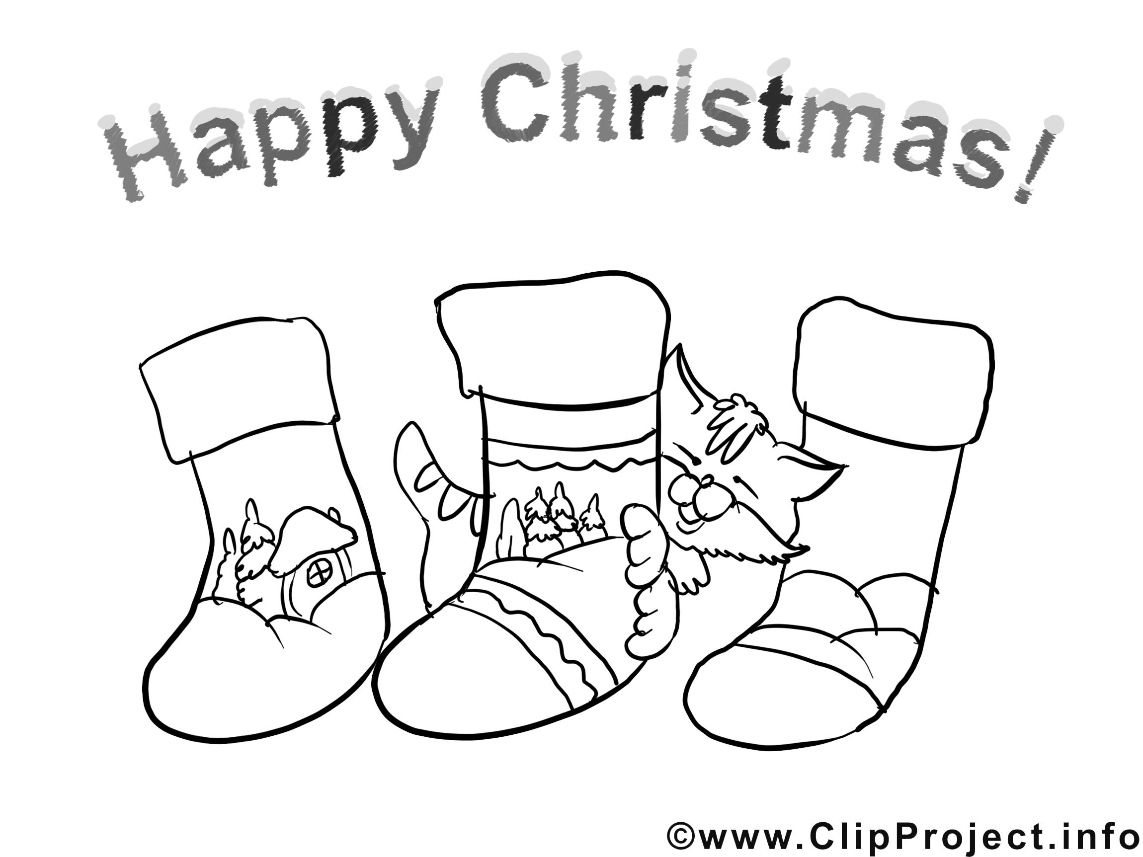 Chaussettes images gratuites – Noël à colorier
