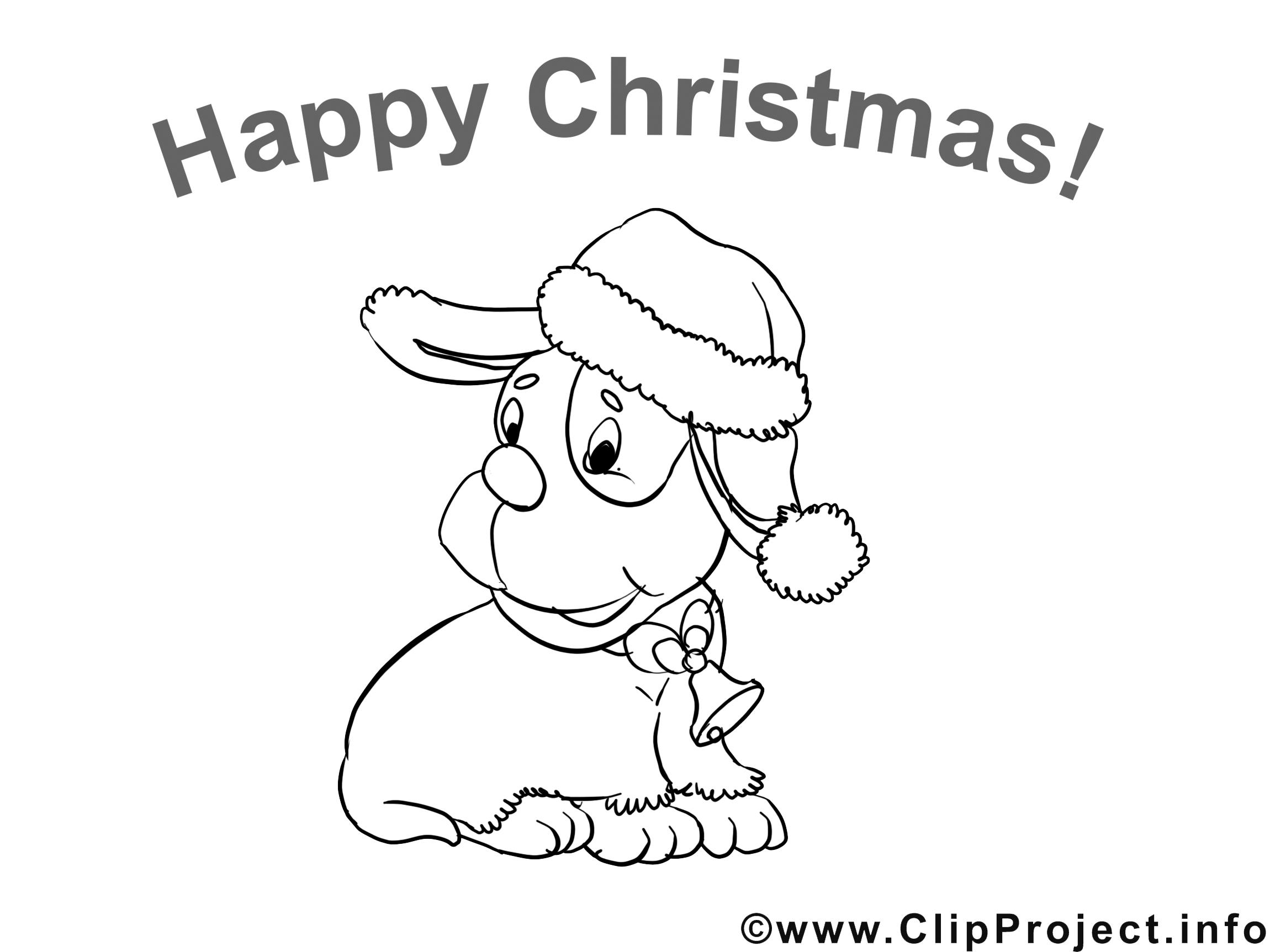 Chien image – Coloriage Noël illustration