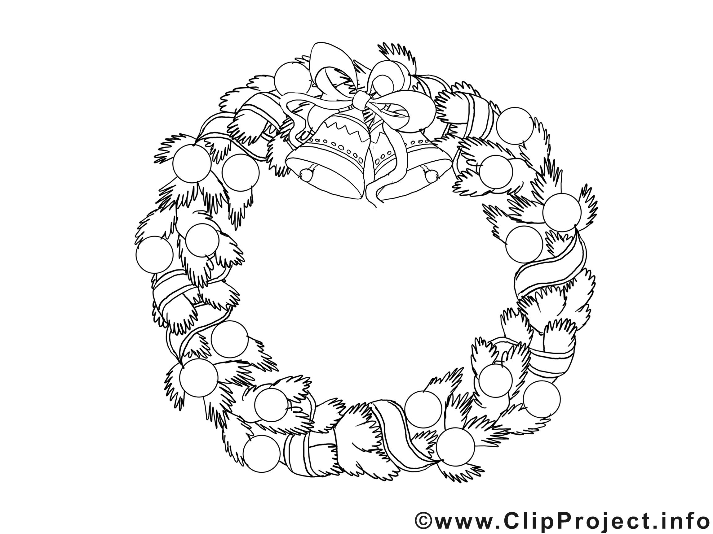 Couronne images gratuites – Noël à colorier