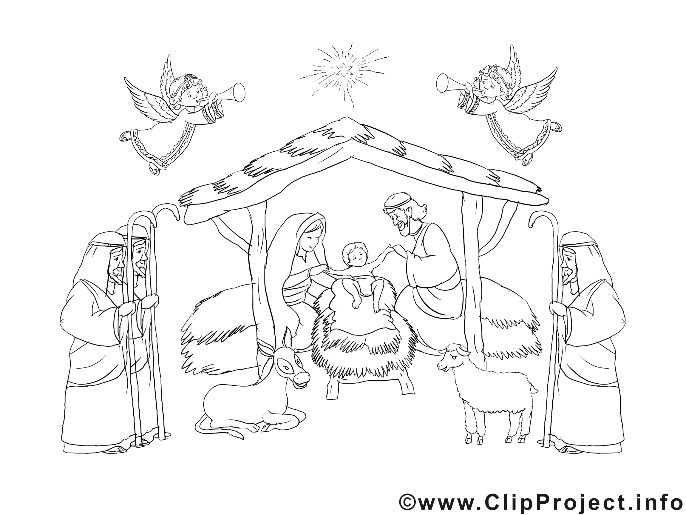 Cr che clipart no l dessins colorier no l coloriages - Coloriage creche de noel ...