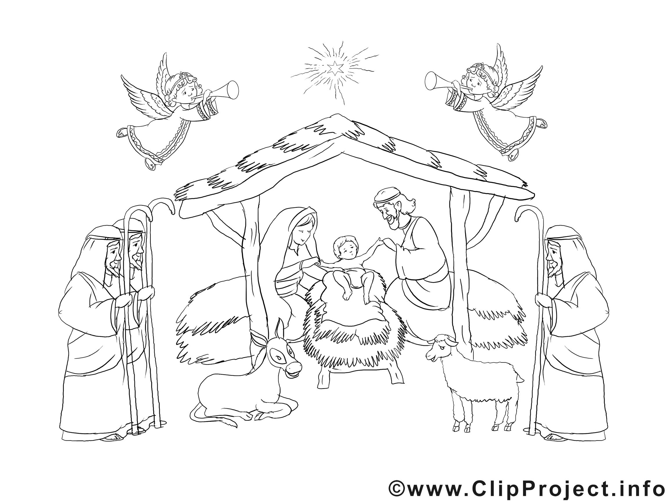 Crêche clipart – Noël dessins à colorier