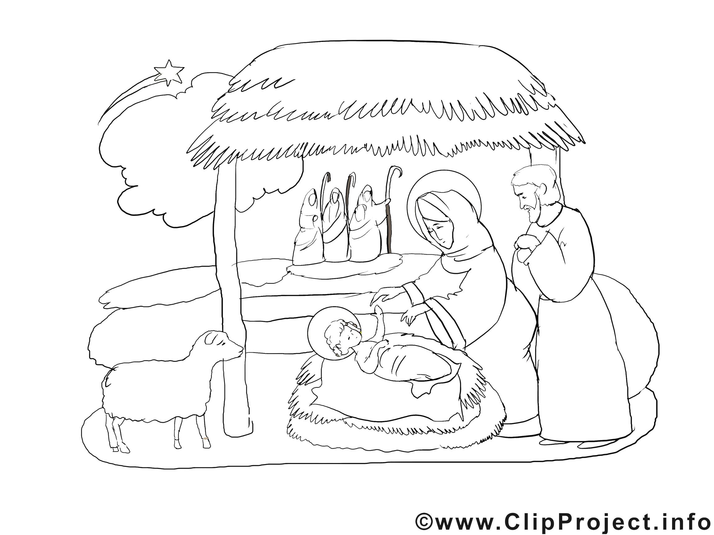 Crêche image gratuite – Noël à colorier