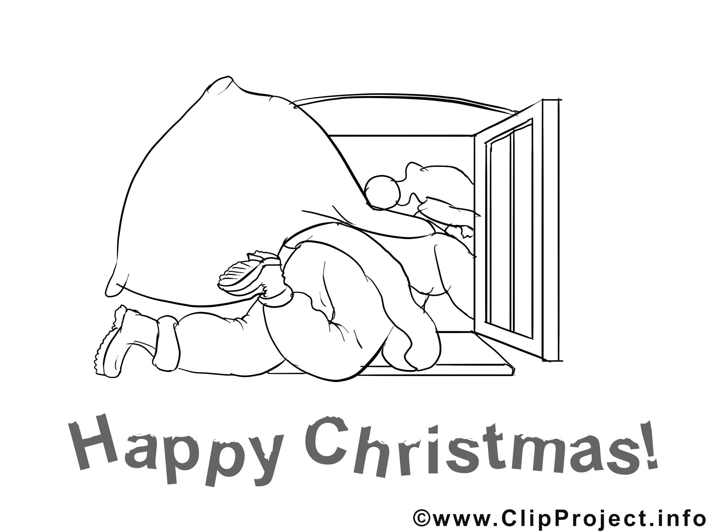 Fenêtre clip art gratuit – Noël à colorier