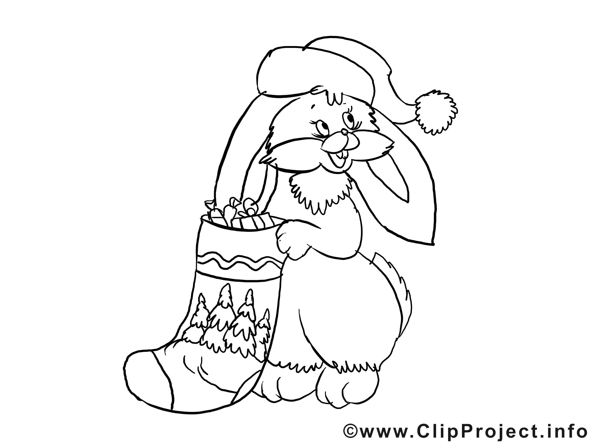 Lapin chaussette dessin – Coloriage noël à télécharger