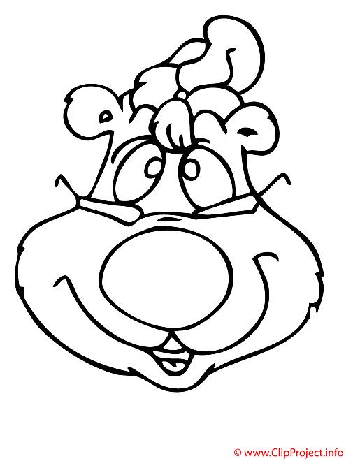 L'ours du Nouvel an coloriage