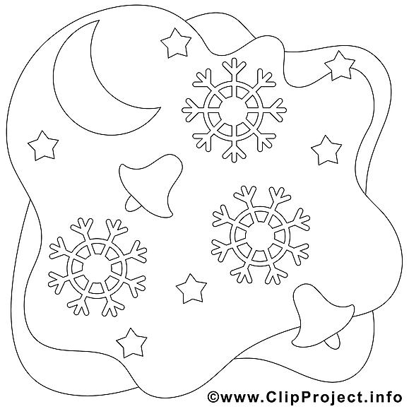 Lune dessin à télécharger – Noël à colorier