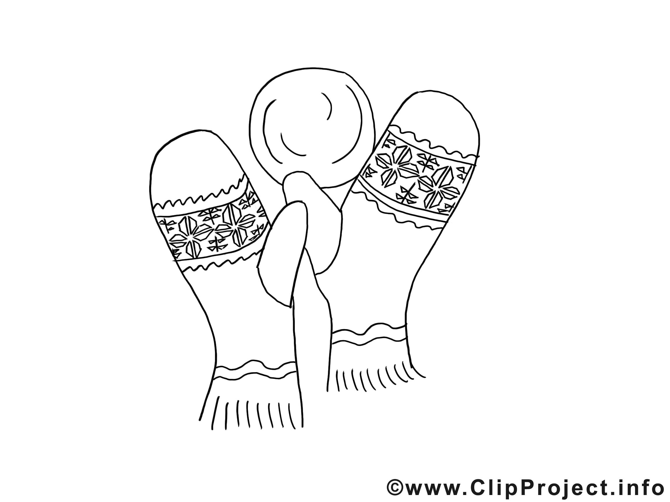 Moufles images gratuites – Noël à colorier
