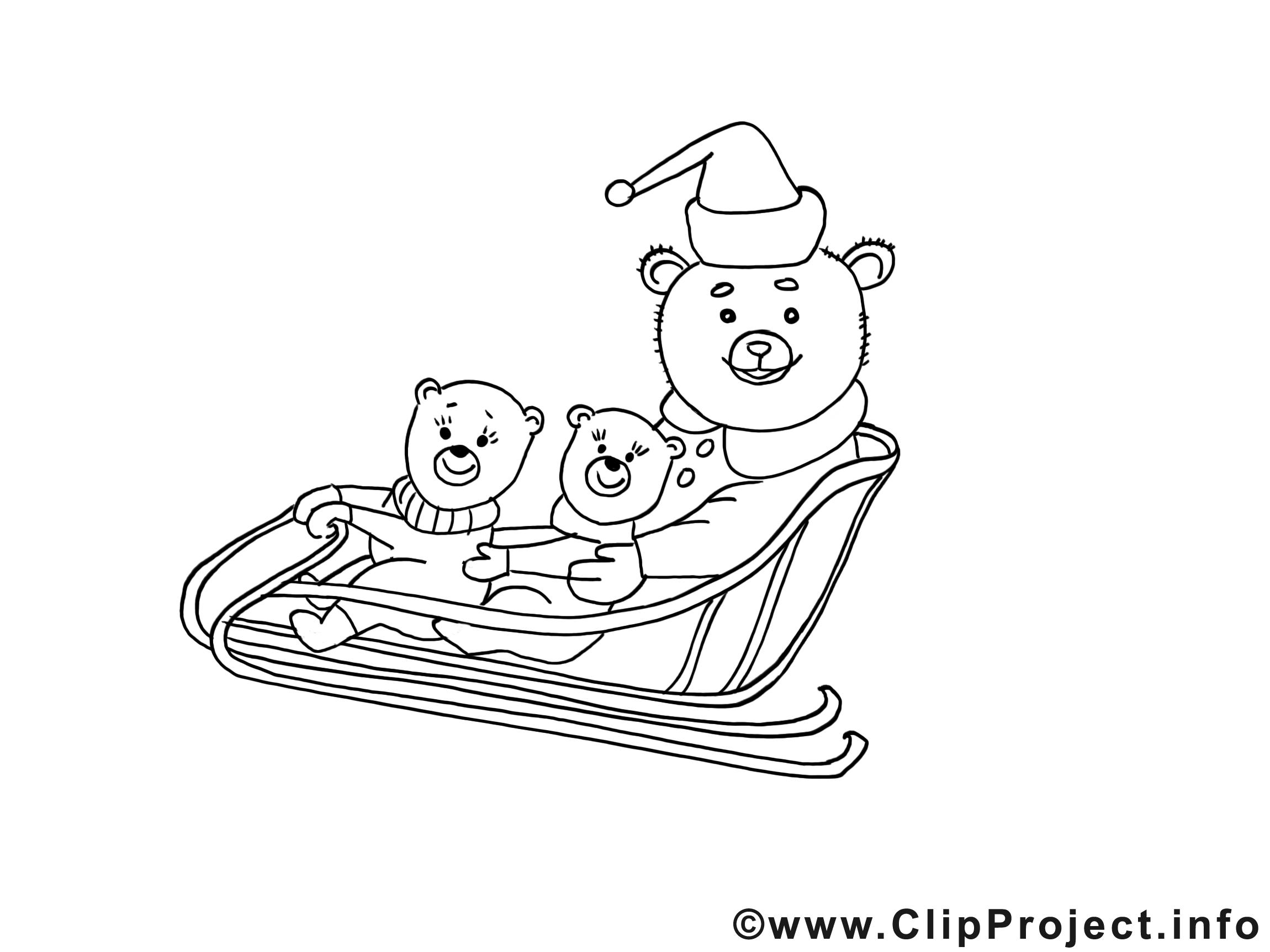 Ours luges clipart – Noël dessins à colorier