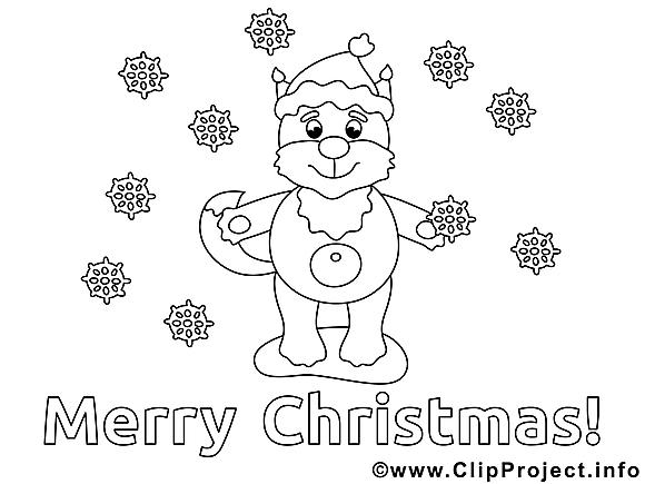 Renard image gratuite – Noël à colorier