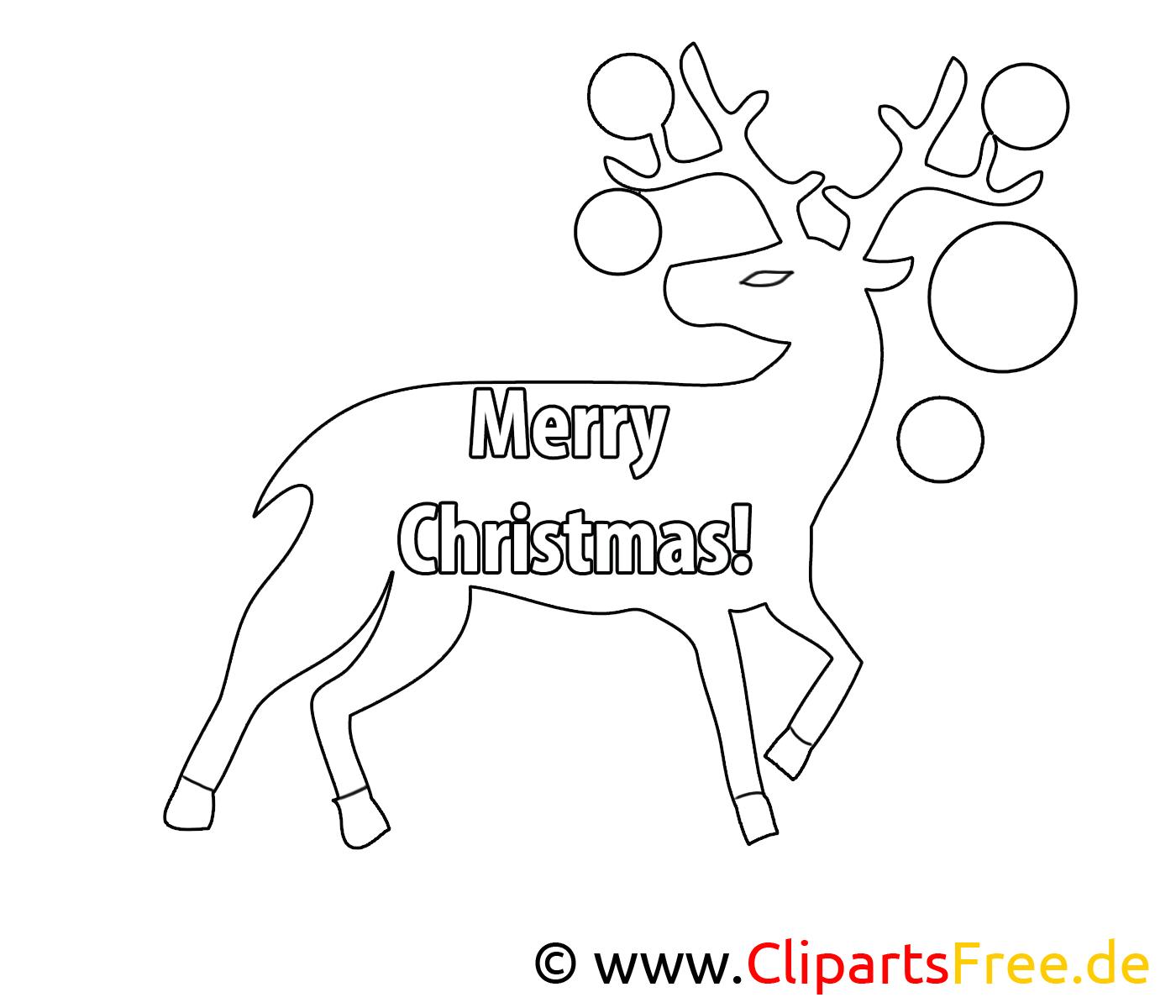 Renne dessin à télécharger – Noël à colorier